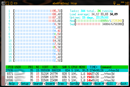 htop on 16 core machine under load
