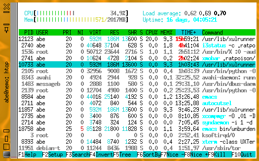 htop on single core machine