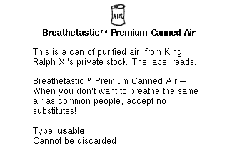 Screenshot of the Breathetastic™ Premium Canned Air item window